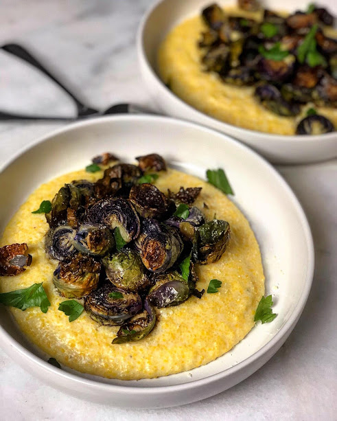 polenta with brussels sprouts
